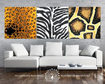 WILD trio - abstract painting with glitter. Leopard, snake & zebra art. African art jungle decor. Yellow and black painting. Yellow wall art