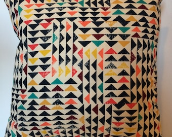 Indie Triangles Cushion, Triangles Cushion, Colourful Cushion, Cushion UK, Cushion Cover UK, Cushion Cover, Triangles Pillow