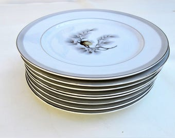 Vintage Pinecone China | Salad Plates | Kent China Plates | Dessert Plates | 50s Dinnerware | 7 Inch Plates | Set of 8