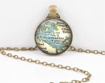 Lake Winnipesaukee New Hampshire Vintage Map Geography Gift  Pendant Necklace or Key Ring