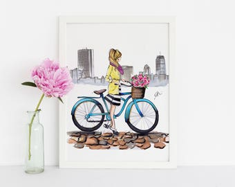 The Bike (Fashion Illustration Print - Fashion Sketch prints - Home Decor - Wall Decor )