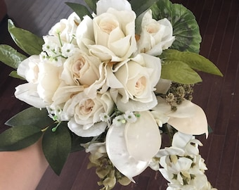 Ivory and Green Toss Bouquet, Bridesmaid Bouquet. Custom Made to Order