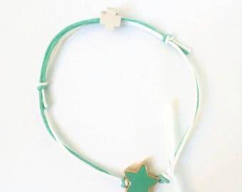 Aqua bracelet with an aqua enamel star and a wooden cross, set of 25 pcs