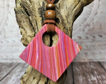 Handcrafted polymer clay pendant, large square pendant, clay necklace, statement pendant, striped pendant, boho necklace, gifts for her.