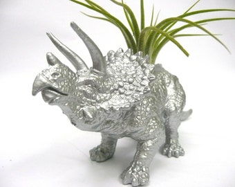 Silver Triceratops Dinosaur Planter with Air Plant // Coworker Gift // For Her // For Him