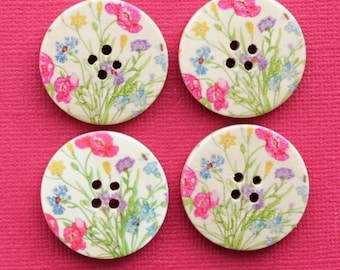 6 Large Wood Buttons Lovely Floral Design 30mm - BUT003