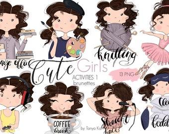 Stickers Girls, Planner Girls Icons, Brunette Hair Girls, Painter, Knitting, Balerina, Coffee Break Stickers, Gamer Girl, Cute Girls Icons
