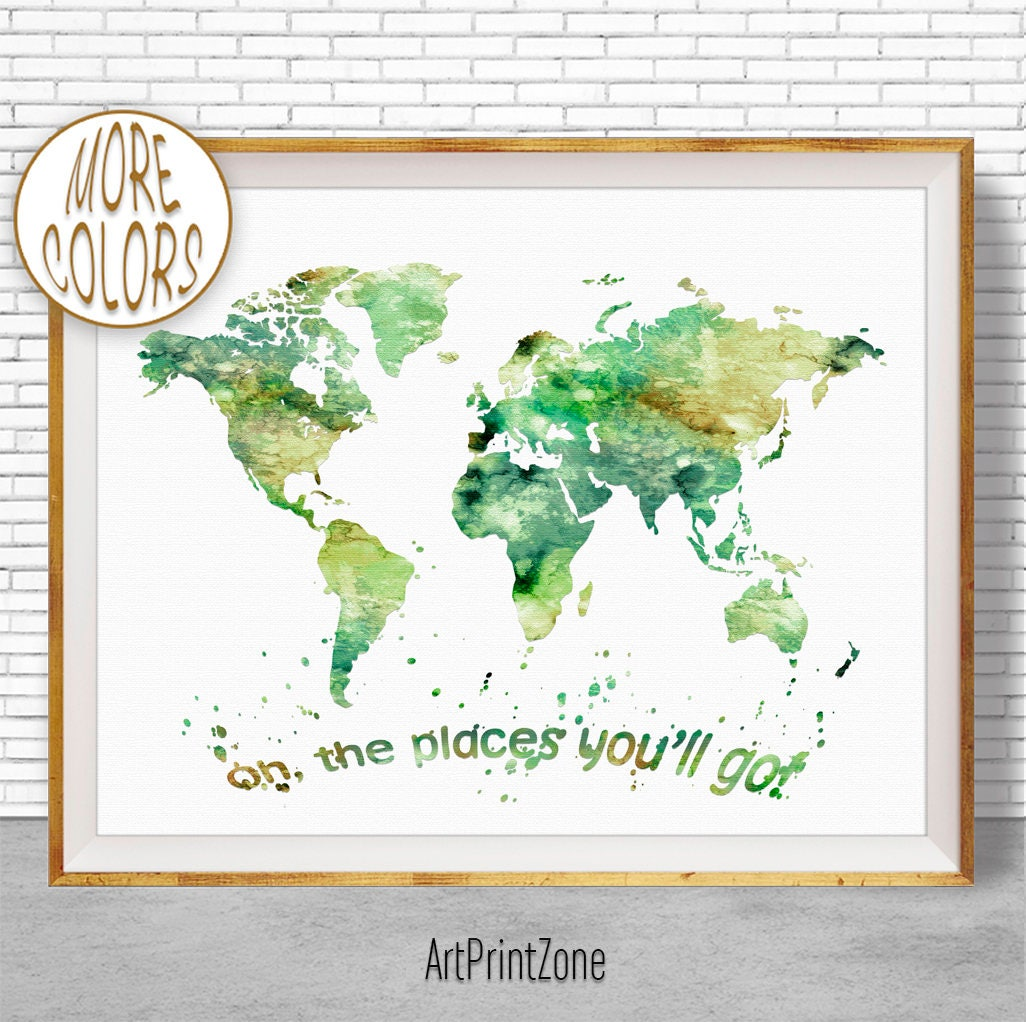 Oh the places youll go world map print world map poster wall art oh the places youll go world map print world map poster wall art nursery wall art nursery decor nursery art artprintzonegift for women gumiabroncs Gallery