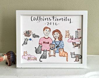 Custom Portrait / Custom Anniversary Gift / Couples Illustration / Hand Drawn Portrait