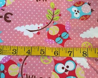 1.5 Yard of Yellow Owls Fabric