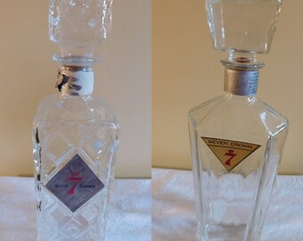 Seagrams 7 Crown Glass Liquor Decanters Cut Glass Liquor Decanter 1960s Seagrams 7 Liquor Decanters Whiskey Decanters