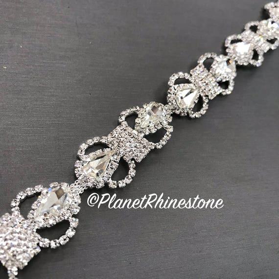 Silver Bow Bridal Crystal Trim #0304