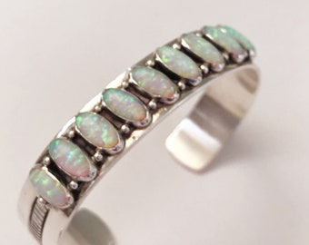 Vintage Sterling Silver and Opal Cuff/Bracelet