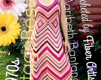 Maxi Dress CROCHET Pattern • Womans Dress • Vintage 1970s • PdF Pattern • ZigZag CHEVRON • Instant Download • 1950s Afghan Pattern Free Gift