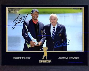 Tiger Woods Arnold Palmer signed autograph Legend Golf photo print Framed #003