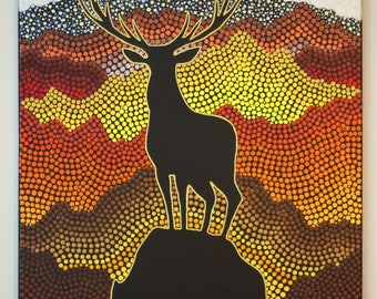 Deer Mountain Original Dot Art Painting- 24 x 36 inch canvas