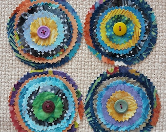 Handmade Fabric Batik Stacked Layer Flowers Appliques Label Tag Bright Button *Clearout*