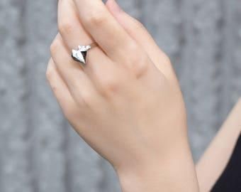 Diamond Heart 18K White Gold 925 Silver Ring