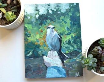 original oil painting, bird painting, boho painting, small art, sky painting, illustration, birds, oil painting, wall decor