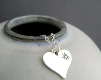 """sterling silver heart compass points necklace simple everyday jewelry love to travel pendant petite charm dainty delicate traveler gift 1/2"""""""