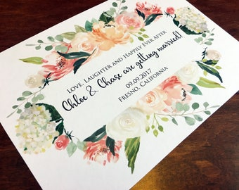 CHLOE Floral Save the Date - Save the Date Cards, Watercolor Floral, Ecru Save the Date, Ivory Save the Date, Floral Wedding