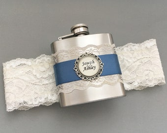 Ivory Wedding Garter with Flask, Antique Blue Bridal Garter, Flask Garter, Something Blue Garter, Personalized FLASK GARTER - Gift for Bride
