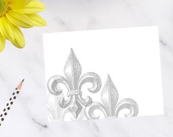Personalized, stationery, Fleur-de-lis Note Cards
