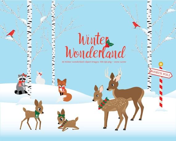 winter wonderland clipart woodland animals winter scene rh etsy com winter wonderland clipart images walking in a winter wonderland clipart