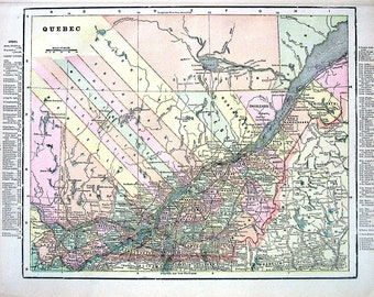 1899 Antique Map - Map of Quebec, Map of Ontario - Canada Map - Maritime Province - 15 x 11 - Antique Book Page from World Atlas
