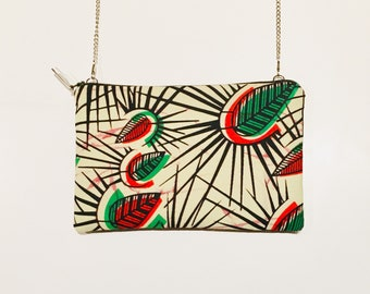 Clutch with detachable chain shoulder strap - model Kinshasa