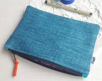 Petrol Pencil Case, Turquoise Zippered Pencil Pouch, Design Pen Bag by Viggi Handmade