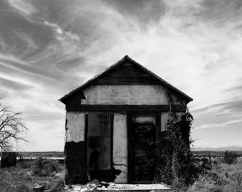 New Mexico Desert Southwest Photography,Abandoned House, American West Ancho NM, Fine Art Black and White Landscape Print