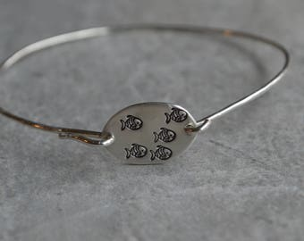 fish sterling silver bangle bracelet