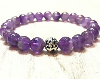 8 mm amethyst bracelet healing crystals and stones bracelet purple stone bracelet for women beads bracelet womens amethyst jewelry gift