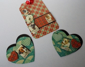 Dog, paper embellishments for Layouts, Mini Albums, Cards, Tags, Altered Art Paper crafts. Matching Embellishments. 3D Embellishments.