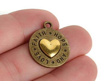 5 Bronze Coin Charms, Bronze Coin with Gold Heart, FAITH HOPE LOVE, round coin charms, 24x20mm, chs3447