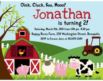 Farm Birthday Party Invitation - Digital File