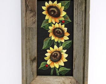 Three Yellow Sunflowers with Green Leaves, Sunflowers, Red Lady Bugs, Hand or Tole Painted, Framed in Reclaimed Primitive Barn Wood Frame