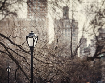 New York City Print, Central Park Lamppost, Upper East Side, Urban Print, Architecture Print or Canvas Art, Grey, Beige, Cream.