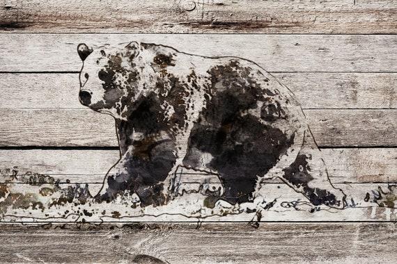 "Black Bear. Bear Art Large Canvas, Bear Art, Black Brown Rustic Bear, Rustic Vintage Bear Wall Art Print up to 81"" by Irena Orlov"