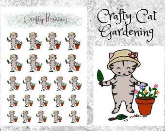 Crafty Cat Gardening, Hand Drawn Character, Planner Stickers, Gardening Stickers, Cat Stickers