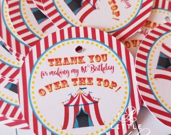 Circus Favor Tags, Circus Thank You Tags, Fair Themed Favor Tags, Fair Party Tags, Circus Party Tags, Carnival Favor Tags, Red, Yellow, Blue