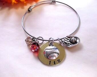 Baseball Bracelet, Baseball Jewelry, Baseball Mom Gift, Spring Training Gift, Sports Jewelry, Hand Stamped Jewelry, Stainless Steel Bangle