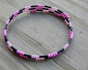 Pink and Black Beaded Memory Wire Bracelet - Wire Wrapped Bracelet - Bangle Bracelet - Size Small to Medium