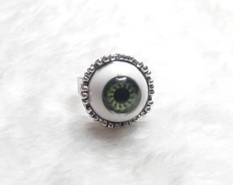 Green eye, Big Brother' silver ring