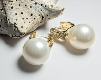Stylishly, Elegant, Sophisticated, 12mm Pearl  Earrings, w/Swarovski Crystals Adorning the Gold Plated Hoops #367