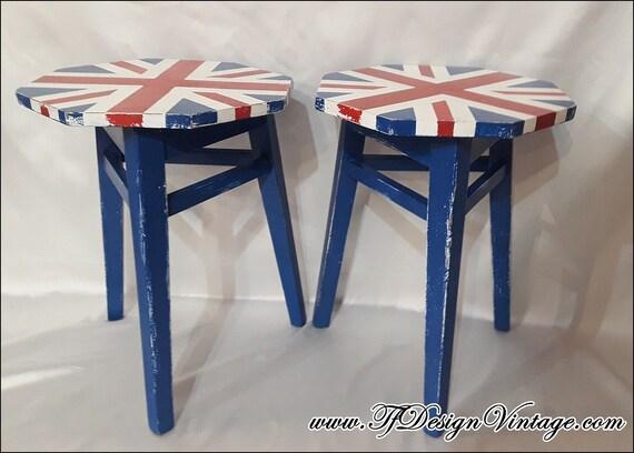 Taburete bandera inglesa, Mueble estilo industrial bandera inglesa, Taburete madera, Taburete original, Silla habitación juvenil, Industrial