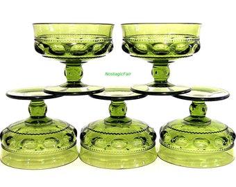 Vintage Indiana Glass King's Crown Avocado Green Sherbets Thumbprint Pattern Set of 5