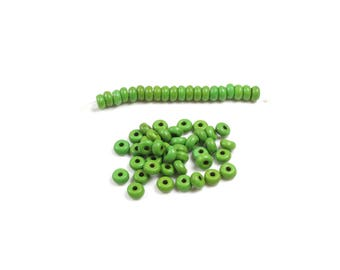50 green synthetic turquoise abacus beads + /-4 x 2mm