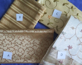 SPRING CLEANING SALE! Gold Fabrics, Embroidered Fabric, Sheer Fabric, Fiber Art Resource, Sewing Resources